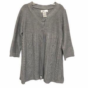 KIKit Cardigan Sweater Swing cable Knit Gray Large